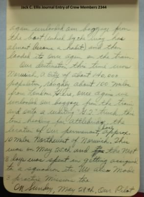 Journal Notes from Jack C Ellis, abt Last day to see Lt. Zavorka