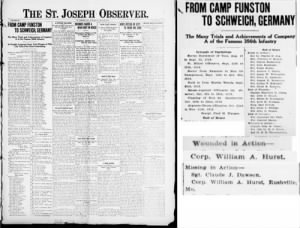 Hurst, Wm A- wounded and MIA- St. Joseph Observer 1919