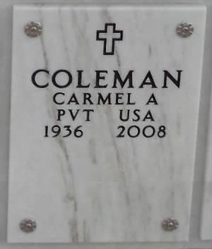 Grave marker for Carmel Amos David Coleman, Sr.