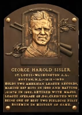 George Sisler HOF Plaque