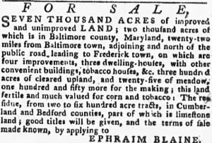 Ephraim Blaine 1779 Lands for Sale.gif