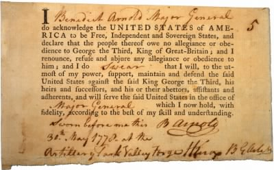 Benedict Arnold's Oath of Allegiance - Fold3.com