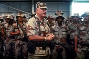 Schwarzkopf visiting a base camp during Operation Desert Shield