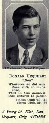 Donald Urquhart in 1932, high school yearbook photo