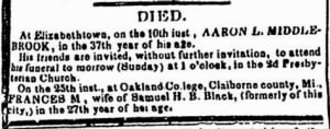 Frances M. Mervin Black 1844 Death Notice.JPG