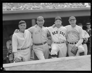 1939 -Old-timers Stuffy McInnis, Frank Home Run Baker, Eddie Collins, and Holy Cross varsity coach Jack Barry.jpg