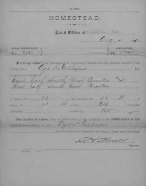 Ozro H Gillespie 1890 Entitled to Homestead Patent.jpg