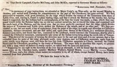 The Cherokee Boundary, American State Papers 07, Indian Affairs Vol. 1, Publication No. 79, 5 Jan. 1798.