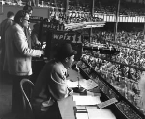 Mel Allen calling a game at Yankee Stadium in 1956.jpg