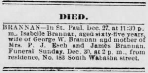 The Saint Daily Globe 29 Dec 1894 - Isabella Brannan obit.PNG