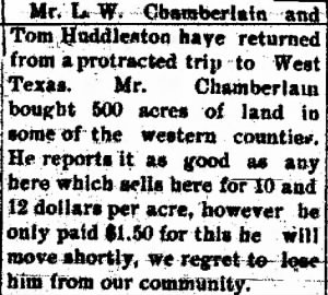 L W Chamberlain 1899 to Move to W TX.png