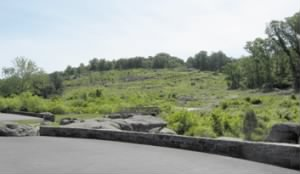 View of Little Round Top from the parking area at the Devils Den.jpg