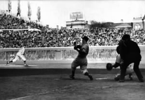 Joe DiMaggio of the New York Yankees strikes out in game 2 of the 1938 World Series.jpg