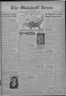 1954-Jun-4 The Malakoff News, Page 1