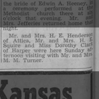 M.M. Turner -- Visitng H.E. Squire and Dorothy Clark of Harper