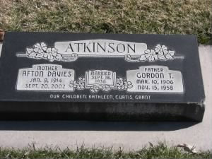 Gordon and Afton Atkinson Headstone