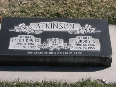 Grave Marker of Afton Davies Atkinson and Gordon T. Atkinson