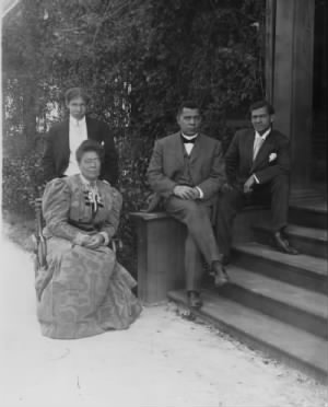 Booker T. Washington with his third wife Margaret and two sons..jpg