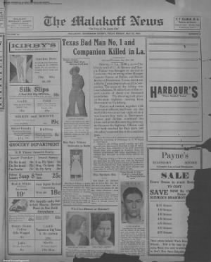 1934-May-25 The Malakoff News, Page 1