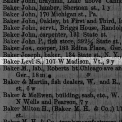 BAKER, Levi S. 1856 residence and more