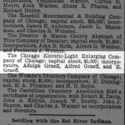 Chicago Electric-Light Enlarging Company Incorporated 12sep1888