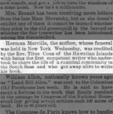 Herman Melville Honored for Surviving his Work with Cannibals