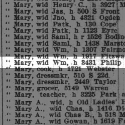 Brown Mary, wd Wm, h 3431 Philip