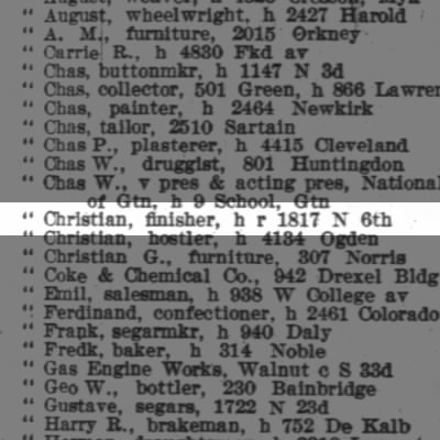 Otto Christian, finisher, h r 1817 N 6th